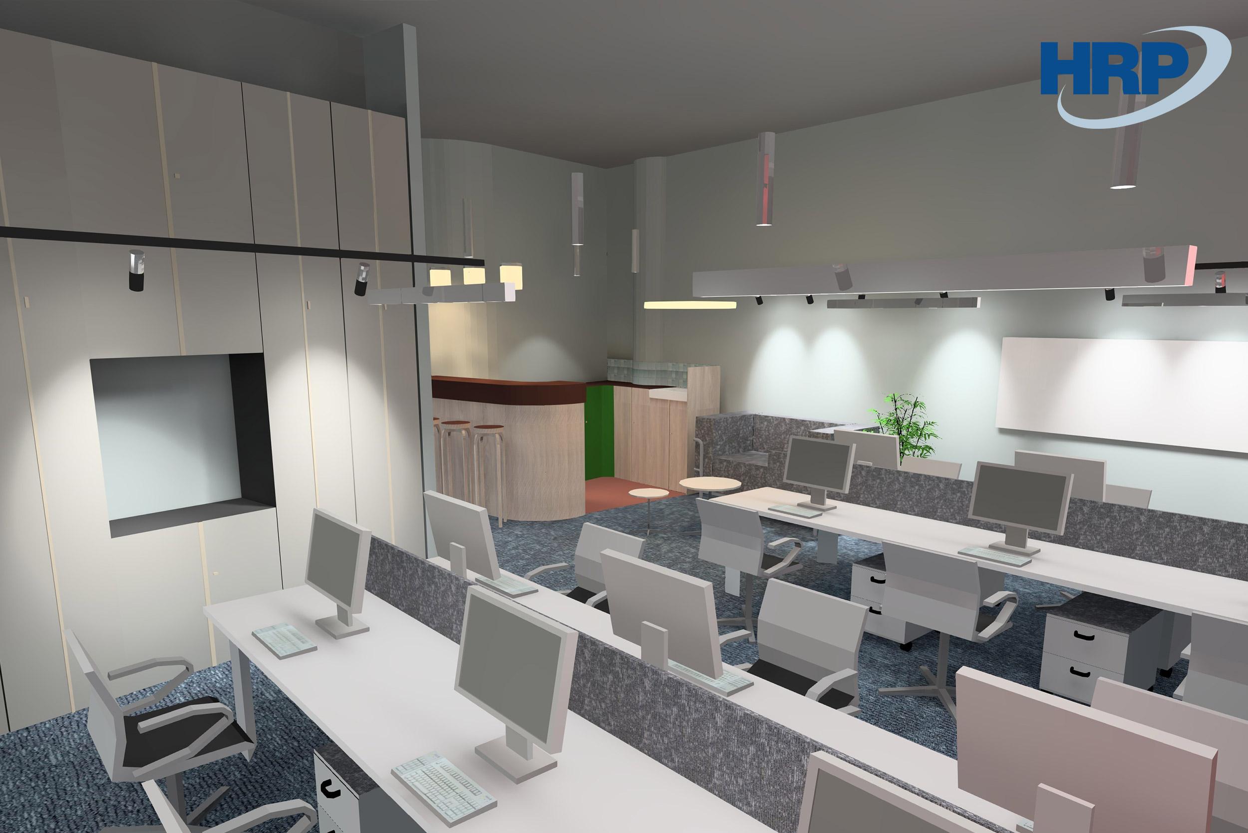 BSR irodai 3D világítástechnikai látványterv