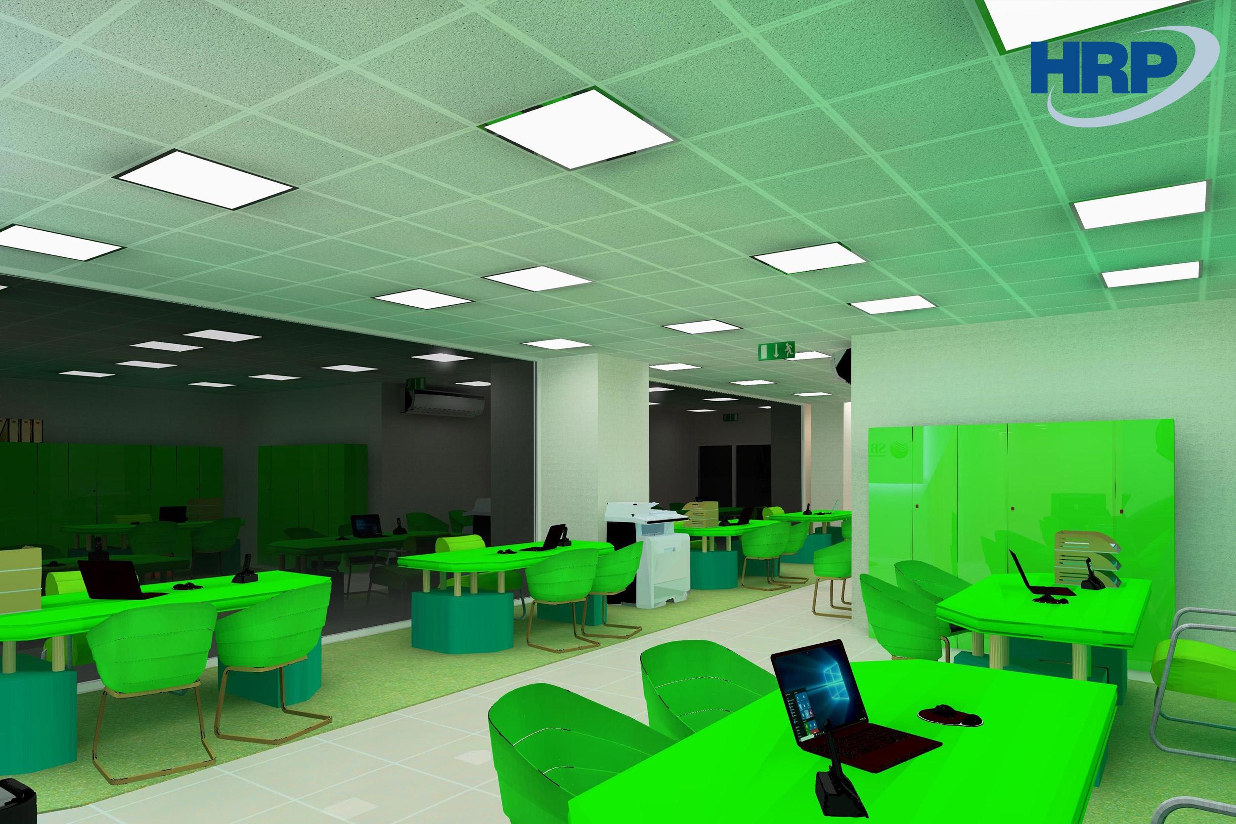 Sberbank beltéri világítástechnikai 3D látvány